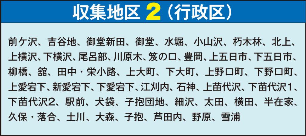平成31年度 ごみ収集カレンダー 収集地区2行政区