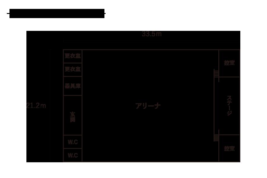 水堀小学校-屋内運動場平面図